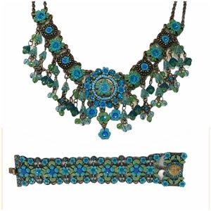 MX TURQUOISE & GREEN NECKLACE AND BRACELET SET